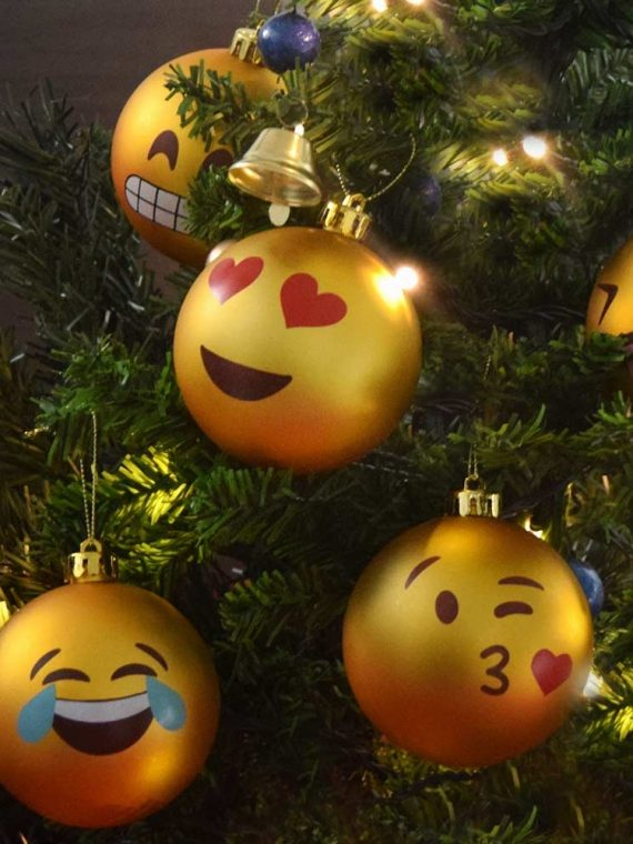 1 set – Emoji Kerstballen